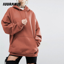 IUURANUS 2019 autumn New Long Sleeves Hoodies Solid Girls' Pink Pullovers Hooded Tops Women Hooded Sweatshirts plus size 5xl все цены