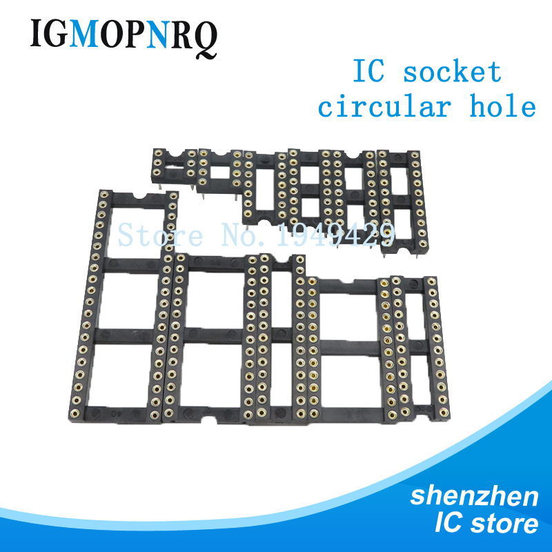 10PCS Round Hole IC <font><b>socket</b></font> Connector <font><b>DIP</b></font> 6 8 14 16 18 20 24 <font><b>28</b></font> pin <font><b>Sockets</b></font> DIP6 DIP8 DIP14 DIP16 DIP18 DIP20 DIP28 pins image