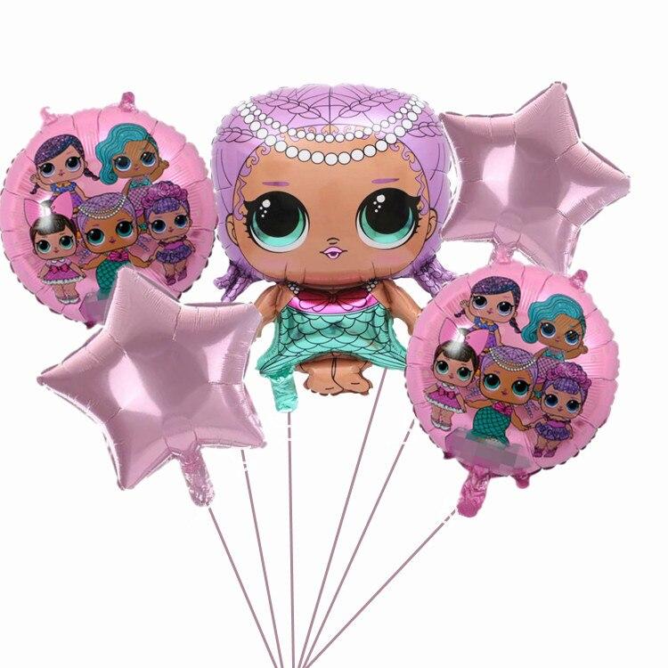 Lol surpresa balão original lol boneca surpresa festa de aniversário das crianças decoração fundo balão forma balão de alumínio