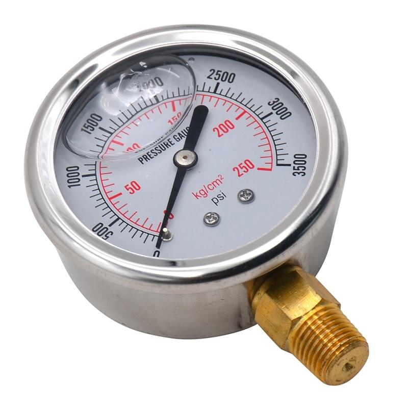1/4 NPT Automotive Oil Pressure Gauge Instrument Hydraulic Meter Gauge 0-3500 PSI