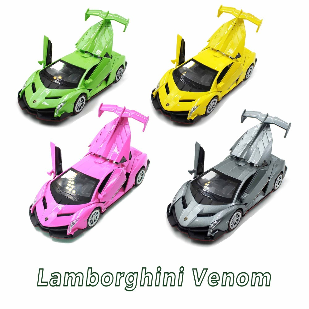 Famous Bull Logo Brand Super Sport Car Hot 1:32 Scale Wheel Lambor Veneno Pull Back Metal Model With Light And Sound Toys