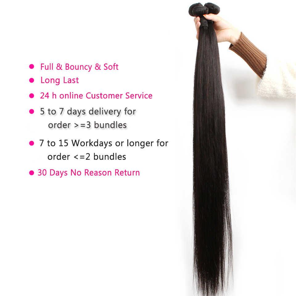Fashow perulu saç düz saç demetleri 30 32 34 36 40 inç kalın demetleri 100% doğal insan saçı demetleri Remy saç dokuma