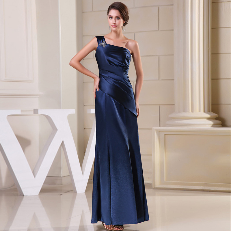 Plus Size Mother Of The Bride Dress Prom Dresses One Shoulder 2019 Ever Pretty Short Sleeve Satin Long Dress Party Gowns