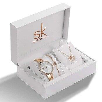 Shengke Top Brand Crystal Design Ladies Watch Bracelet Necklace Set Female Jewelry Luxury WristWatch Quartz Watch Lady's Gift