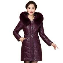 Large Size 7XL 8XL Women Parka Winter Leather Jacket Plus New Fashion Fur Collar Hooded Outerwear Sheepskin Coat Female