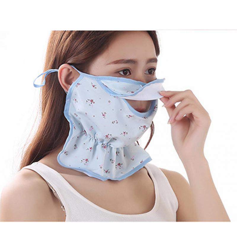 Summer Floral Mouth Mask Face Lightweight Fashion Riding Outdoor Ice Silk Sun Protection Print Anti Dust Sunscreen Practical
