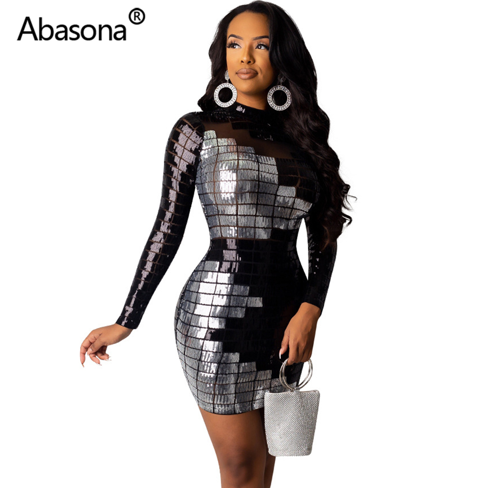 Abasona Autumn Women Winter Long Sleeve Geometric Sexy Bodycon Mini Dress Sheer Mesh Skinny Sequins Dresses Party Night Club