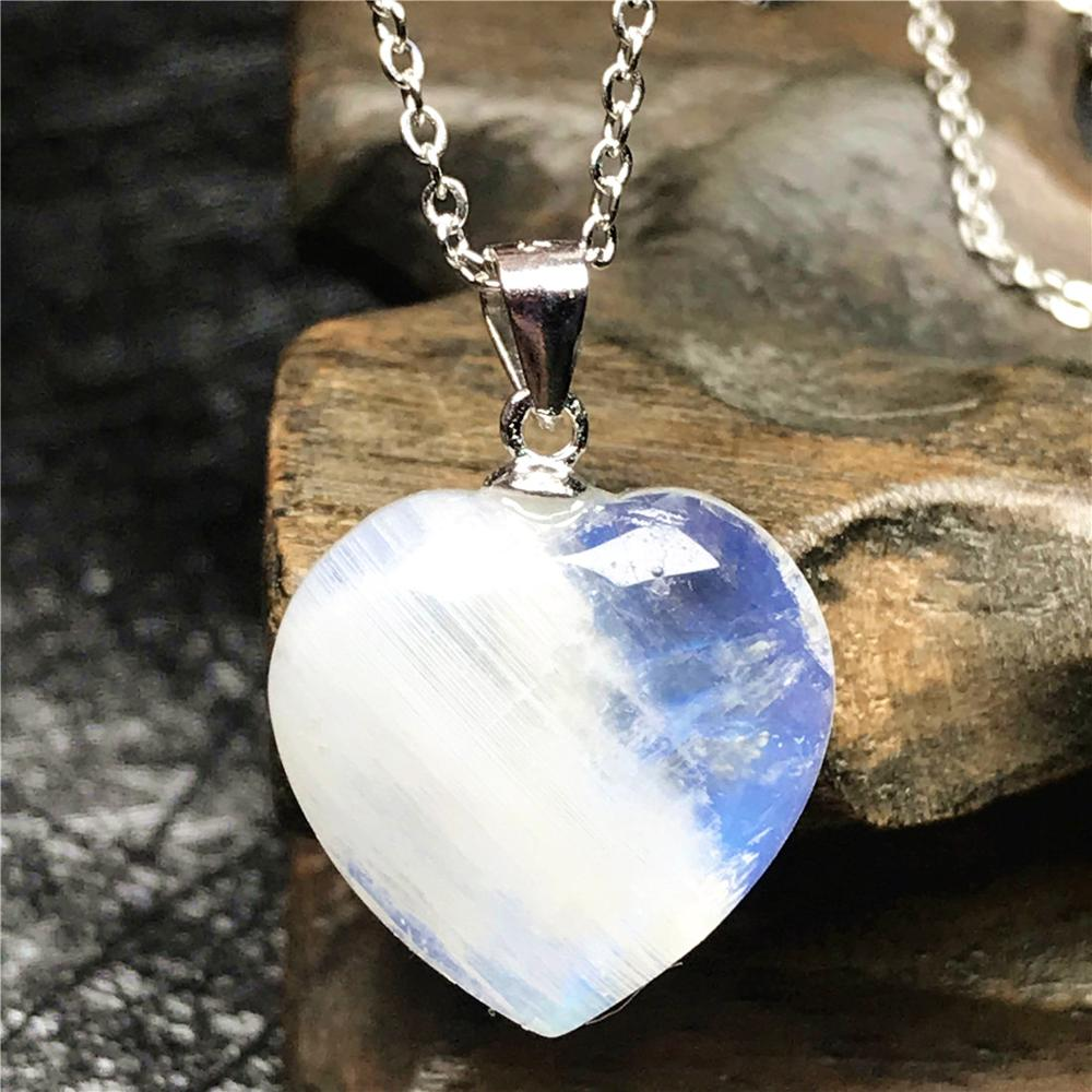 Gift For Her 4mm Natural Ligth Blue Moonstone 925 Sterling Silver Chain Pendant Necklace Jewelry wedding necklace,Silver Pendant