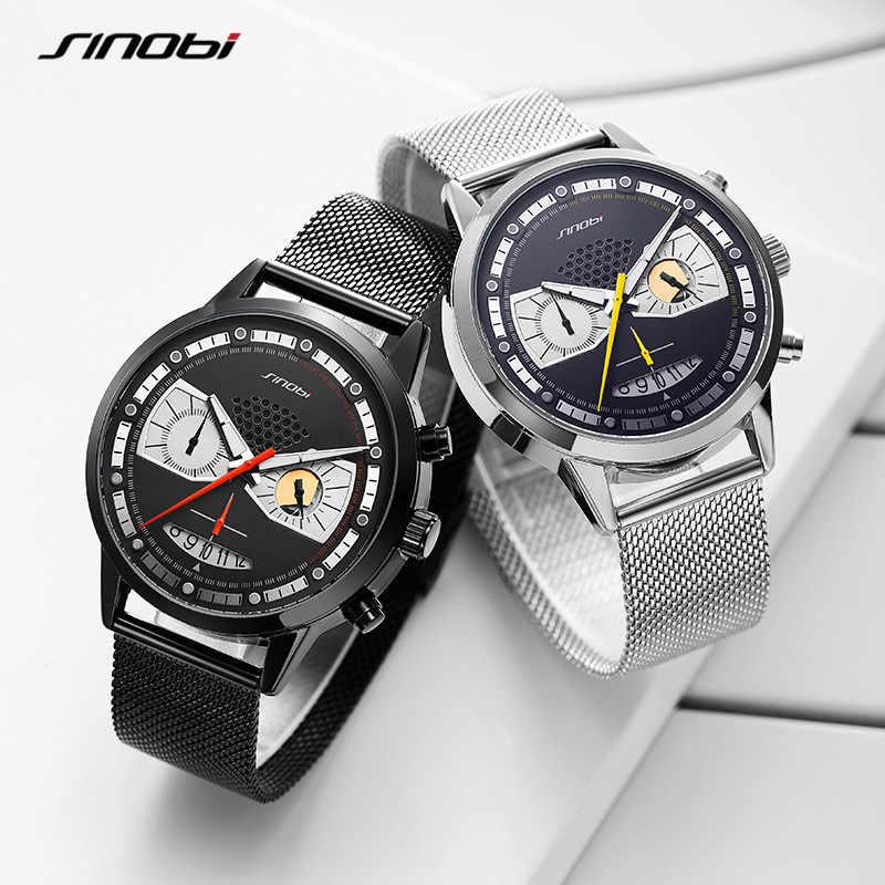 SINOBI אופנה גברים שעונים נירוסטה Creative עיצוב גבר מזדמן ספורט הכרונוגרף קוורץ שעון נירוסטה עמיד למים שעון