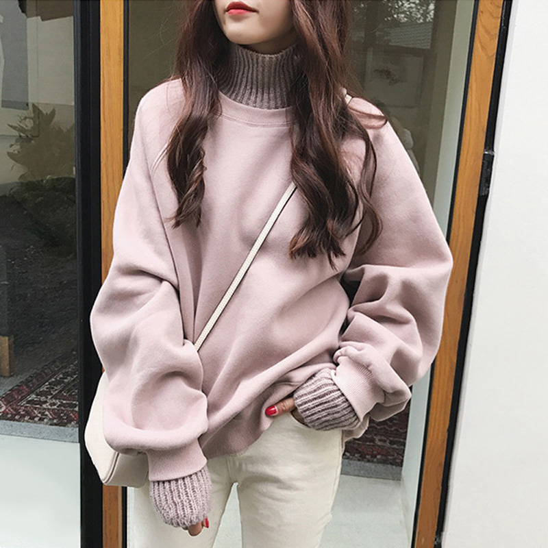 Women's Plus Velvet Thick Hoodie Ladies New Style Fall And Winter Clothes Long-Sleeve Turtleneck Mock Fake Two Piece Pullover