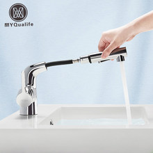 MYQualife Chrome/Black Kitchen Faucet Pull Out Kitchen Sink Mixers Deck Mounted Spring Kitchen Mixer Faucet New Hot Sale(China)