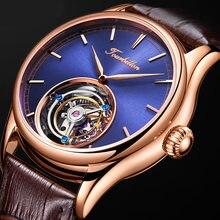100% реальные часы с турбийоном Для Мужчин Скелет Механические
