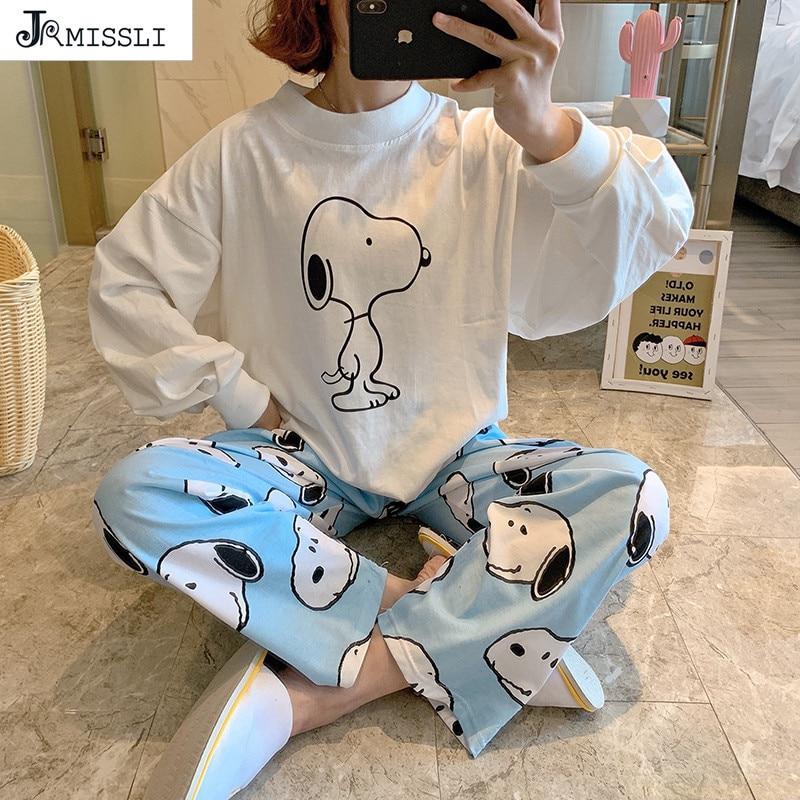 JRMISSLI 2020 Spring New Women Sleepwear Cartoon Printed O-Neck Pajamas Set 2Pcs Loose Large Size Ladies Simple Style Homewear