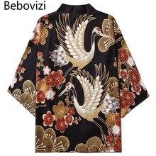 Asian Shirt Clothing Cardigan Yukata Tradition-Clothes Japanese Crane Kimono Women Haori