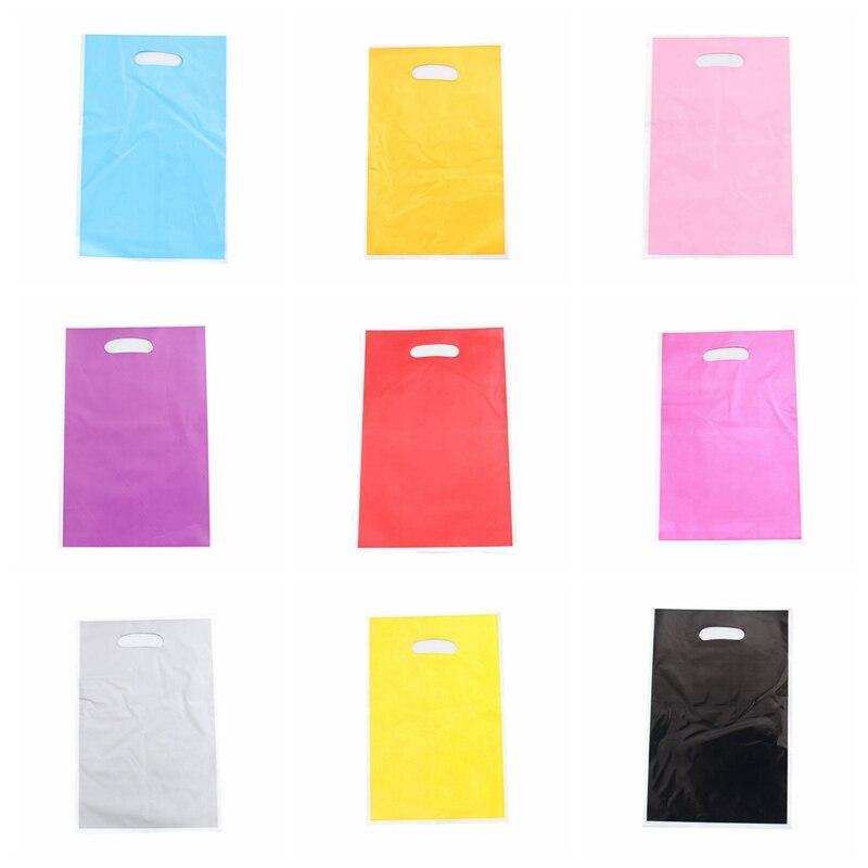 50 шт., однотонные пластиковые подарочные пакеты, 12 цветов