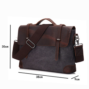 Image 2 - Мужской портфель, сумка из натуральной кожи и холста, Лоскутная мужская сумка мессенджер, винтажная брендовая мужская сумка на плечо для ноутбука, дорожная сумка