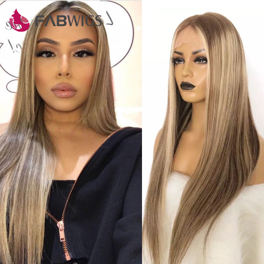 Fabwigs 180% Density Highlight Cami Color T7/7/24 Lace Front Human Hair Wigs Pre Plucked European Ombre Blonde Front Lace Wigs