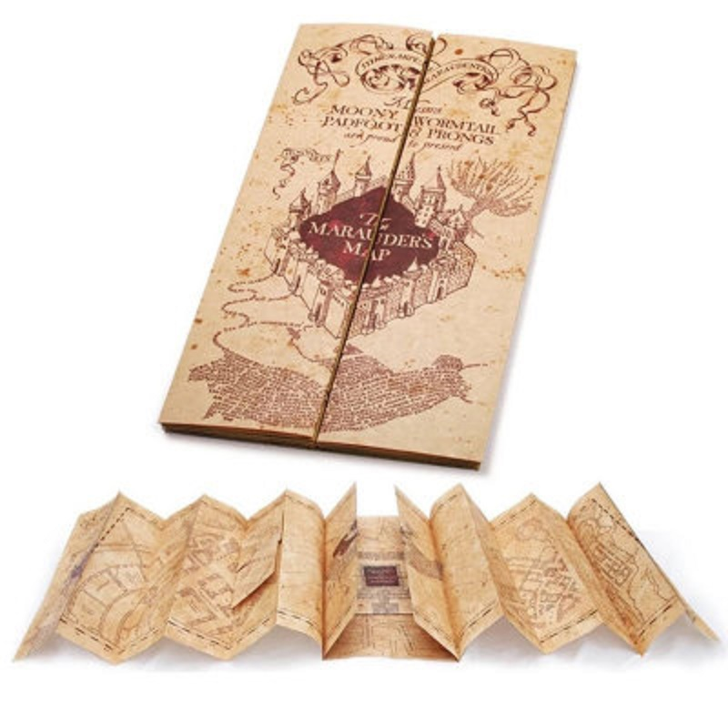 1 Piece Harri Potter Hogwart School Ticket The Marauder's Map Wizard School Collection Quality Kraft Paper Golden Stamping Gift