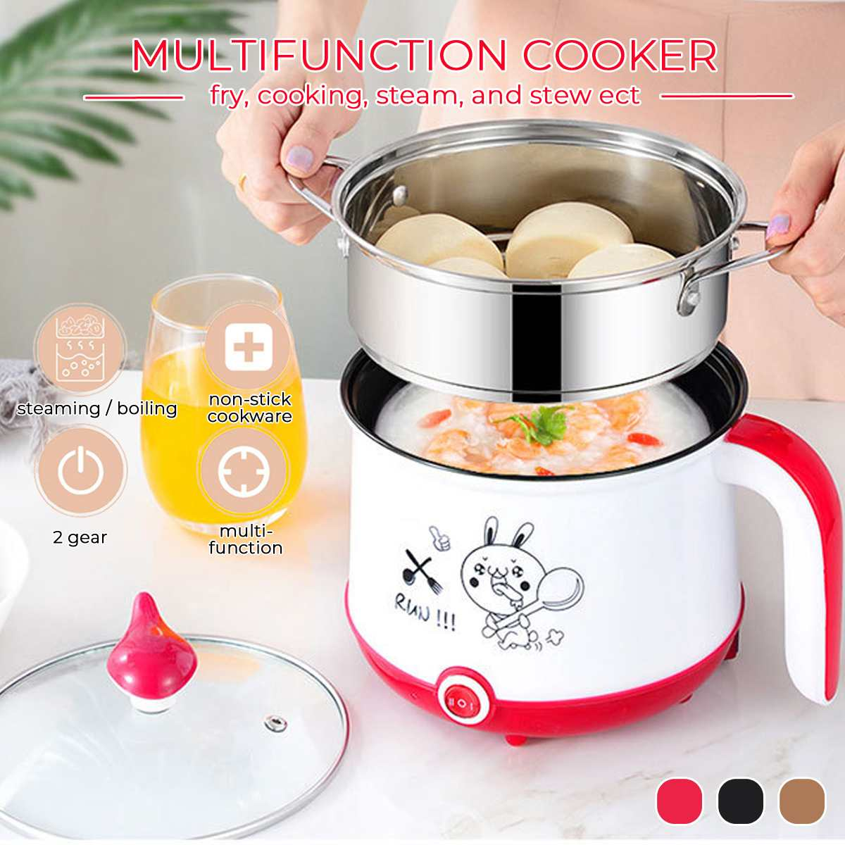 3 Colors 1.8L Mini Electric Rice Cooker 2 Layers Food Steamer Multifunction Meal Cooking Pot Heating Lunch Box