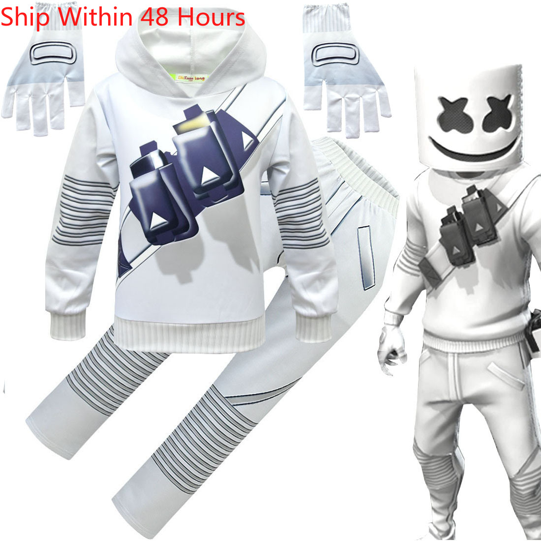 Kids Boys Cosplay Costume DJ Electric Voice Hoodies Sweater Pants Set Christmas Halloween Cosplay School Performance Costumes