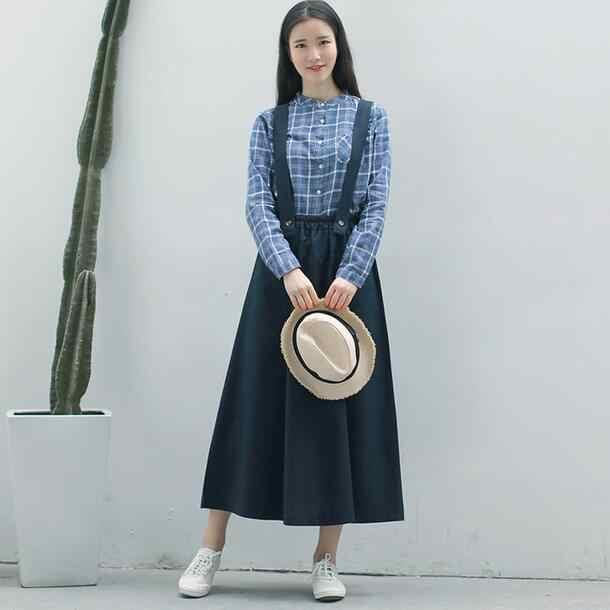 2020 Vintage długa czarna spódnica dla kobiet japońskie w stylu preppy Maxi lniane kombinezony styl mori girl granatowe kobiece spódnice z wysokim stanem WF863