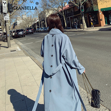 2020 Autumn Blue Thin Trench Coats For Women Back Button Design Long Overcoat Lo