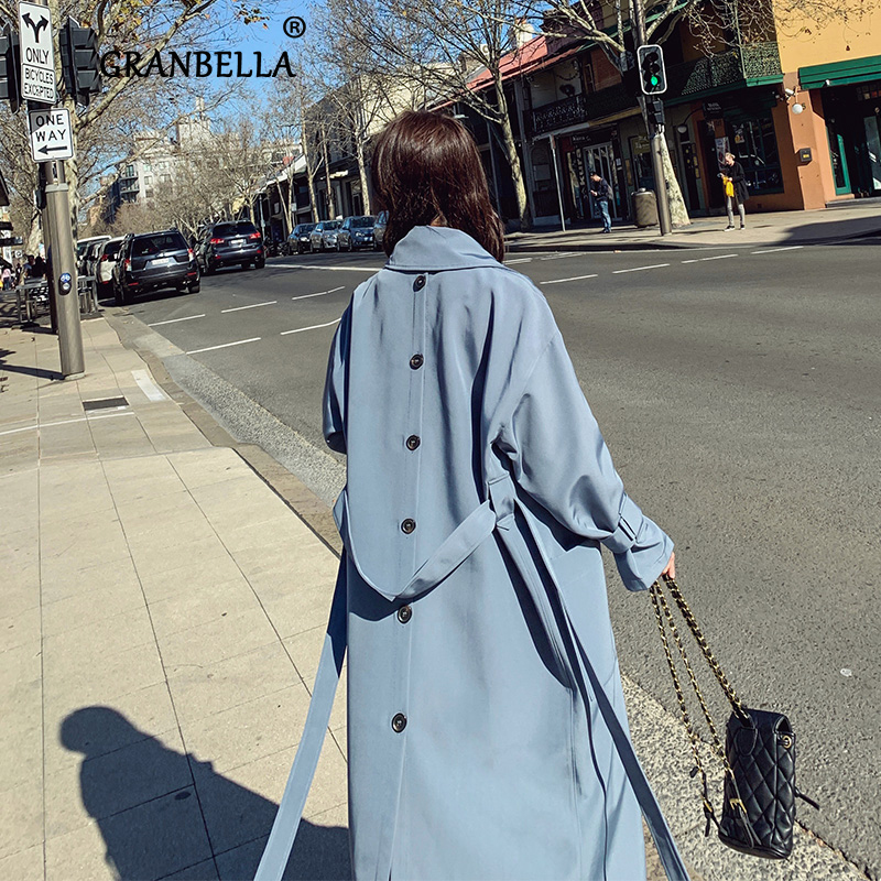 Elegant Blue Thin Trench Coats For Women Manteau Femme 2020 Back Button Design Long Korean Loose Over Knee Belt Coat Outerwear