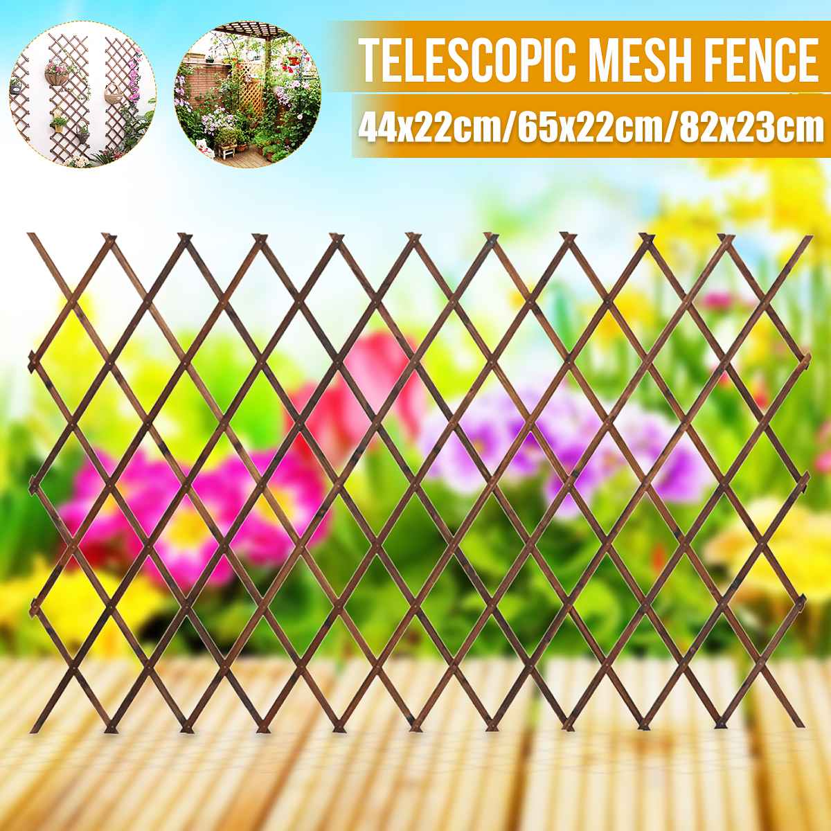 Carbonized Antiseptic Wooden Fence Plant Climb Trellis Support Realistic Garden Park Courtyard Decoration 3 Size
