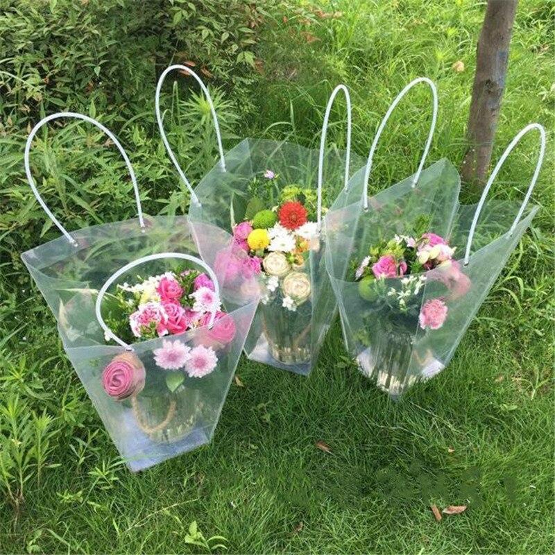 Sac de fleurs Transparent pour décoration de fleuriste, sac de Bouquet en plastique étanche, sac de cadeau Transparent Portable, emballage de Collocation