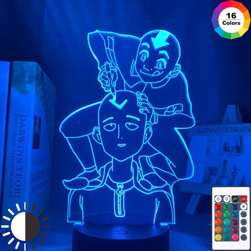 One Punch Man Led Night Light Anime Lamp Saitama for Bedroom Decor Nightlight Kids Gift The Last Airbender Avatar Light Aang LED Night Lights  - AliExpress