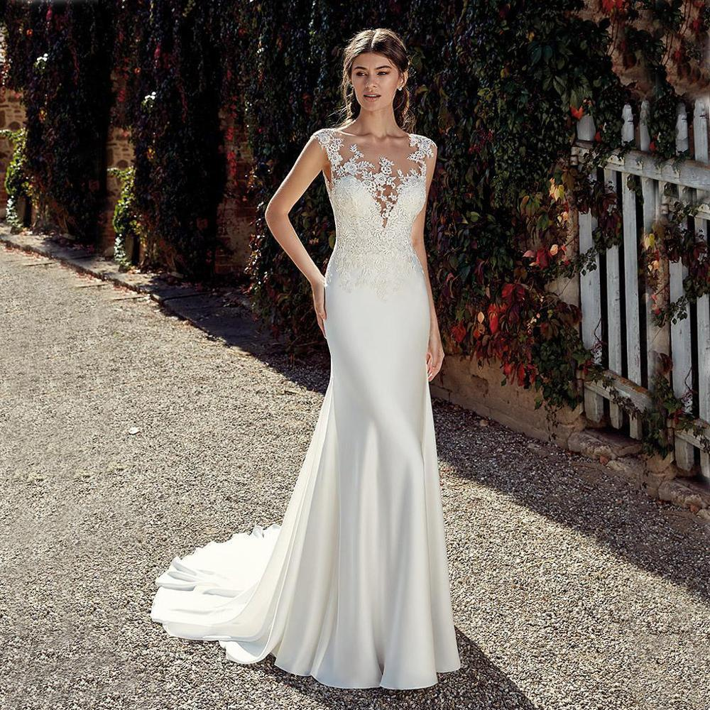 Booma Cap Sleeve Lace Appliqued Wedding Dresses Mermaid For Women Sleeveless Back Illusion Beach Bridal Gowns Plus Size