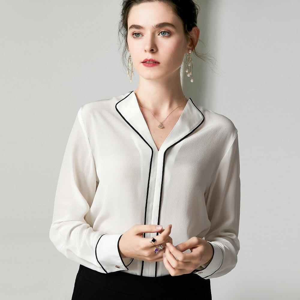Blusas de trabajo elegantes 2019 camisas de oficina de otoño para mujer cuello en V Color bloque de retazos de manga larga Blanco marrón blusa de seda - 2