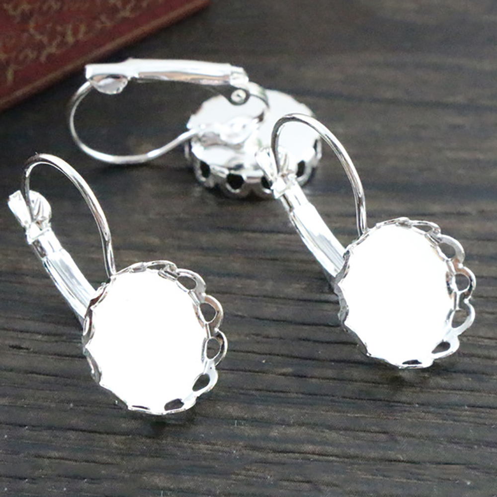 12mm 10pcs Light Silver Plated French Lever Back Earrings Blank/Base,Fit 12mm Glass Cabochons,Buttons;Earring Bezels (L2-16)