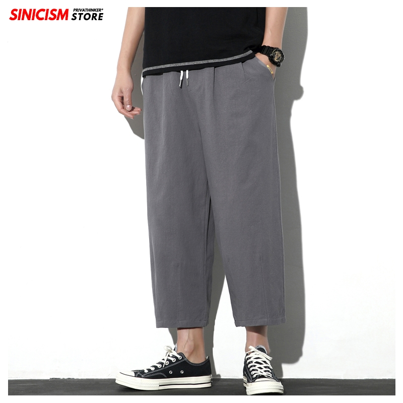 Sinicism Store Men Solid Chinese Style Ankle-Length Pants Mens 2020 Summer Loose Trousers Male Oversize Linen Toursers Pants 5XL