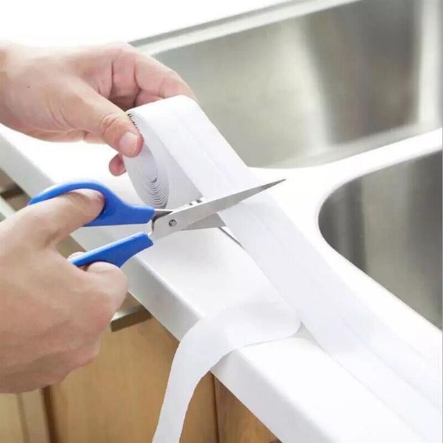 3.2mx22mm Bathroom Shower Sink Bath Sealing Strip Tape White PVC Self Adhesive Waterproof Wall Sticker For Bathroom Kitchen 3