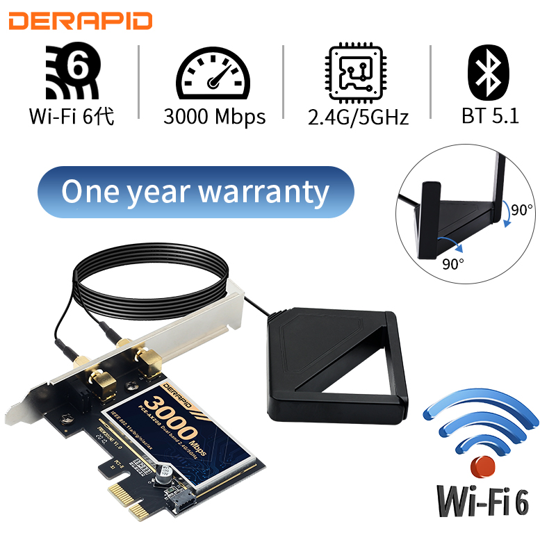 3000M Dual Band Wireless Desktop PCIe WiFi 6 For Intel AX200 Card 802 11ax 2 4G 5Ghz Bluetooth 5 1 PCI Express Network Adapter
