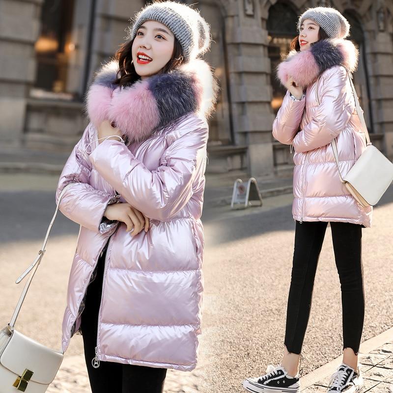 Image 2 - 2019 New Women Winter Down Jacket Chic Big Fur Warm Ultra Light  Long Coat Female Parka Hooded Glossy Jackets OversizedParkas   -