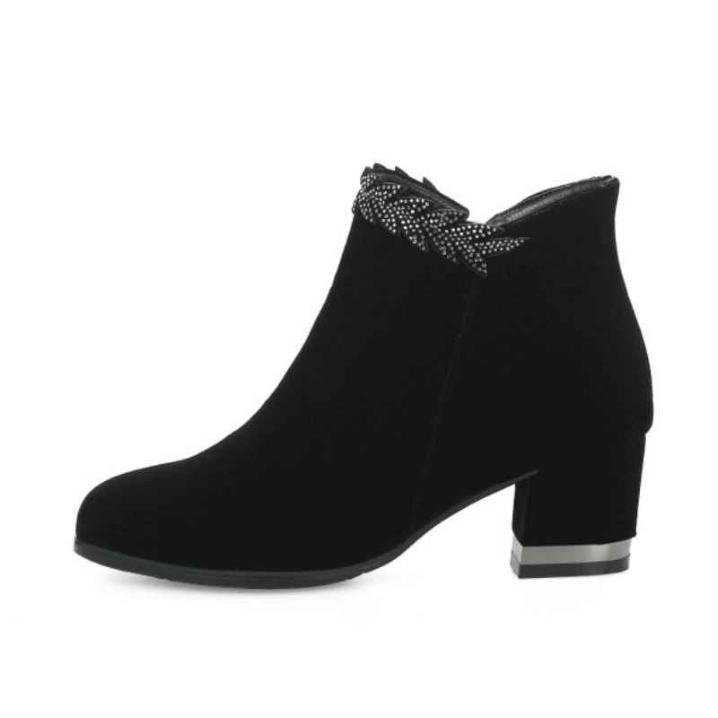 Tuyoki mujer Botines moda cristal Tacón cuadrado cremallera Simple rojo boda zapatos mujer cálido piel invierno calzado talla 33 43