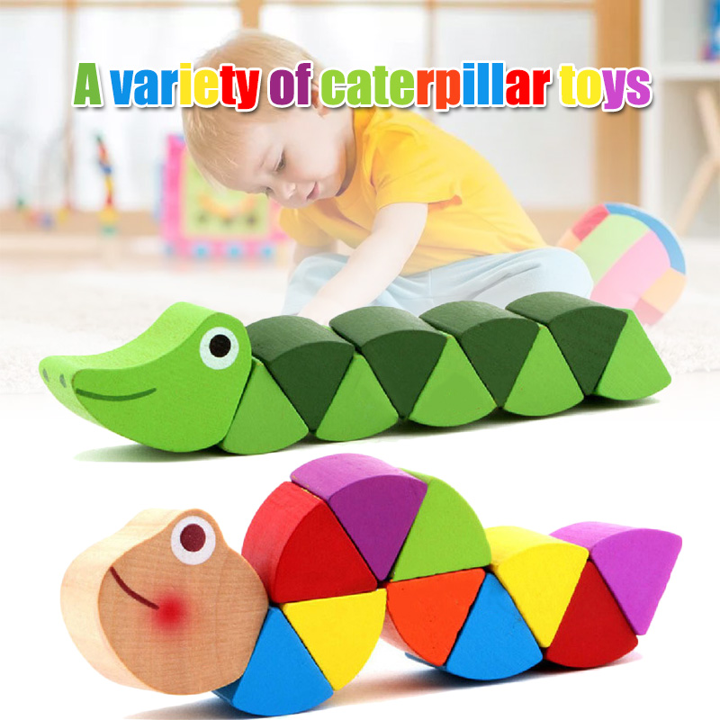 Colorful Wooden Worm Puzzles Learning Educational Didactic Development Toys Children FJ88