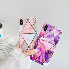 Geometric plating stitching design pink purple cases for iphone 8 7 6 6s plus xr x xs max shiny electroplated marble phone case ats868 stylish shiny crystal inlaid abs electroplated metal back case for samsung s4 pink