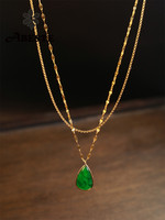 ANI 18K Solid Yellow Gold Pendant Necklace Natural Jade Women Engagement Necklace Birthday Gift Pear Shape Gemstone Jewelry
