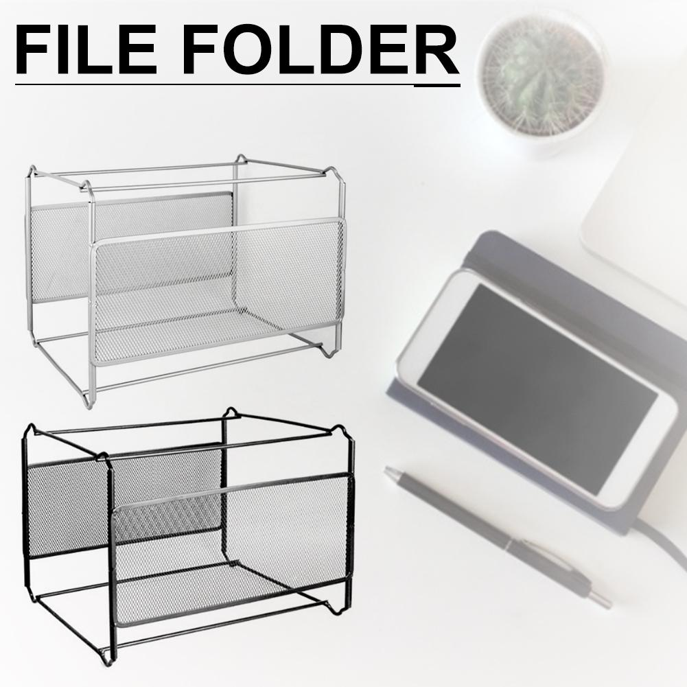 Hanging File Folder Box Mesh Metal File Organizer Box Hanging File Foldable Holder Storage Box For Office Home A4 Letter Size