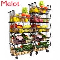 Home Stainless Steel Racks & Holders with Wheels Vegetable Fruit Racks Basket Kitchen Floor Home Kitchen Storage & Organization