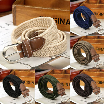 New Fashion Casual Elastic Stretch Waist Belt Canvas Braided Woven Leather Belt Jeans Accessories Waistband
