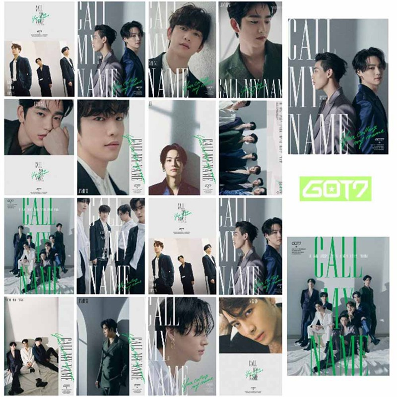 16 Pcs/Set GOT7 New Album Call My Name Album Photocard Fans Gift Self Made Paper Poster Photo Card Collection Stationery Set