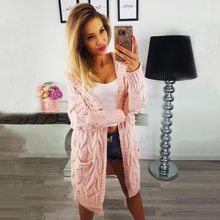 Pink Cardigan Women Long Sleeve Hoodie New Sweater For 2019 Winter Clothes Loose Womens Knitted Jacket
