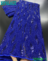 Blue Sequin Fabric French Net Laces African Applique Lace Embroidered Tulle Trim Lace with Sequins for Dresses KS3289B