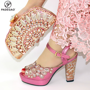 Latest Pink Shoes and Bags Set Italian Sets 2019 African Shoes and Matching Bags Italian Women Rhinestone Wedding Shoes