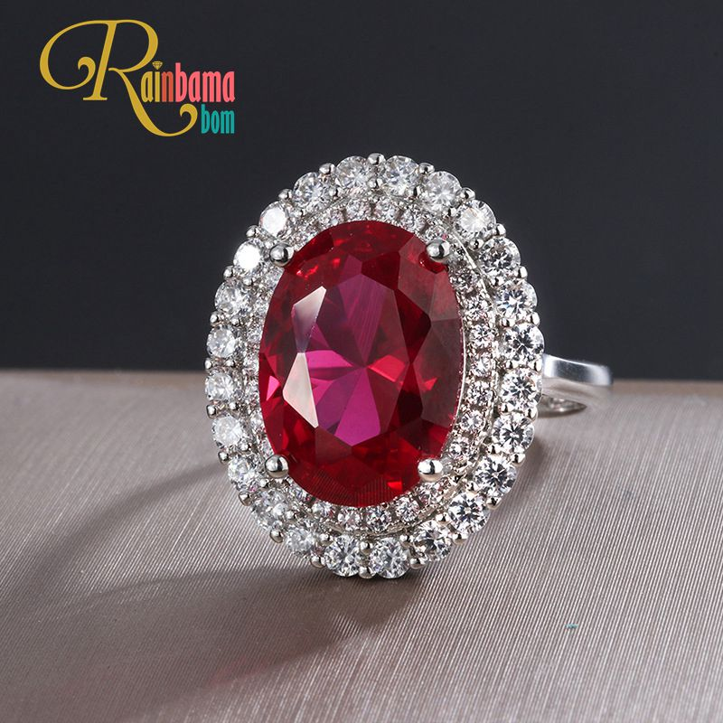 Rainbamabom Vintage 925 Solid Sterling Silver Created Moissanite Ruby Gemstone Wedding Engagement Ring Fine Jewelry Wholesale