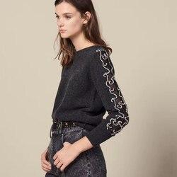 2019 новый зимний женский свитер с круглым вырезом и длинными рукавами, украшенный бусинами